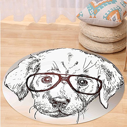 Kisscase Custom carpetModern Cute Hipster Puppy with Glasses Smart Dog Nerd Animal Humor Fun Graphic Design for Bedroom Living Room Dorm White Tan Brown