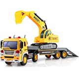 Friction Powered Flatbed Truck with Excavator Tractor - Push and Go Construction Toy for Boys and Girls with Lights and…