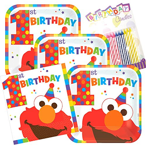 Lobyn Value Pack Sesame Street's Elmo Fun To Be One 1st Party Birthday Plates and Napkins Serves 16 With ()