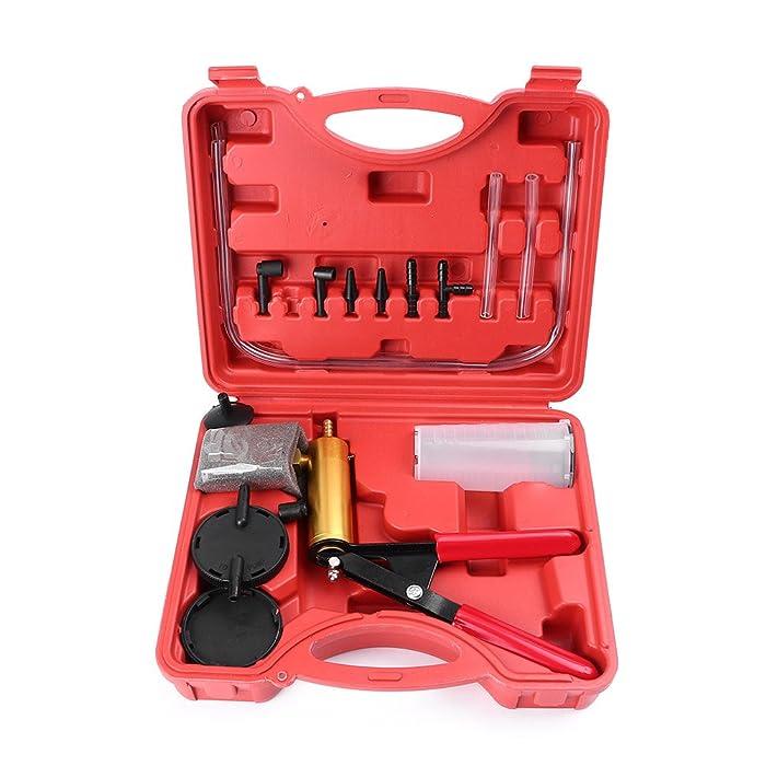 GZYF Hand Held Vacuum Pump Test Set for Automotive with Brake Bleeder Kit Adapters Vacuum Gauge Hoses Connector