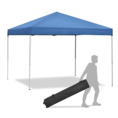 Smartxchoices Pop Up Canopy Tent - 10 x 10 FT Blue Foldable and Height Adjustable Outdoor Tent Sun Protection Canopy Beach Shelter with Wheeled Carry Bag Steel Frame Waterproof Oxford Fabric : Garden & Outdoor