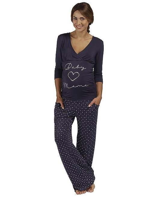 The Essential One - Mujeres Maternidad Pijamas con Lema - Azul Marino - Mujeres: 36