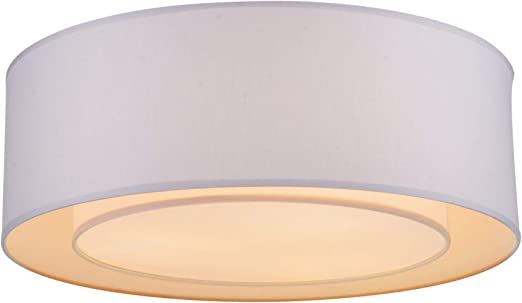 Lámpara de techo básica, marco de metal, soporte ajustable, pantalla de lámpara en PVC cubierta en tela gris claro, diseño moderno y simple, 3 bombillas 60 W E27 220 V no incl: