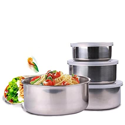 Amazon.com: Stainless Steel Mixing Bowls Set - by Vibola 5 Pcs ...