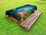 Ambesonne Nature Outdoor Tablecloth, Mystical Aurora Borealis Above The Rocky Hills Magnetic Poles Solar Space Panorama, Decorative Washable Picnic Table Cloth, 58 X 84 inches, Jade Green