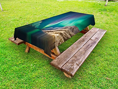 Ambesonne Nature Outdoor Tablecloth, Mystical Aurora Borealis Above The Rocky Hills Magnetic Poles Solar Space Panorama, Decorative Washable Picnic Table Cloth, 58 X 84 inches, Jade Green by Ambesonne