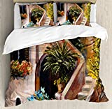 Rustic Duvet Cover Set by Ambesonne, Terrace Flowers and Garden House Greece with Rustic Window Oil Painting, 3 Piece Bedding Set with Pillow Shams, King Size, Green Brown and Peach