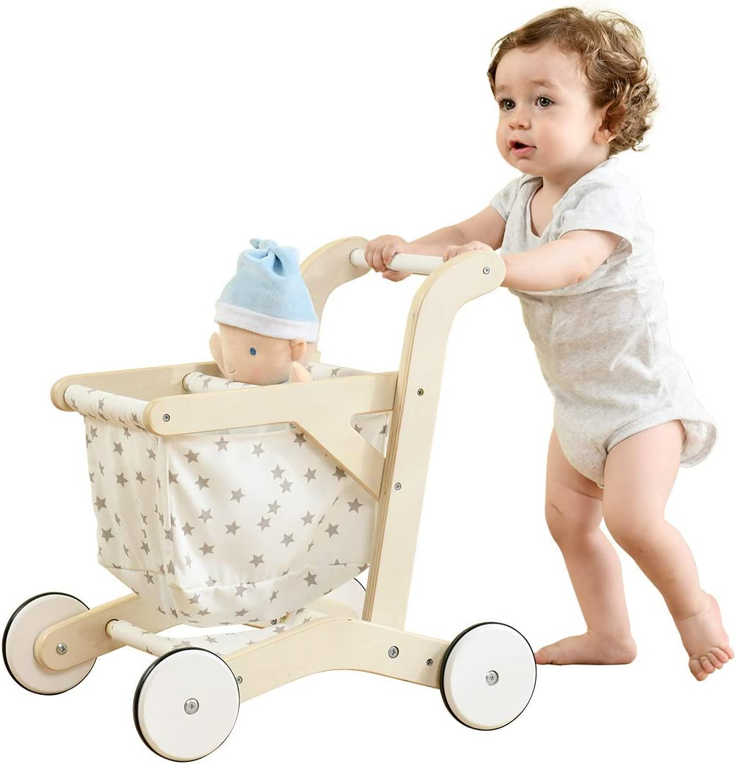 Stroller Learning Walker with Wheels labebe-Baby Wooden Push Walker Blue Transfer Cart for Children Girls /& Boys 1-3 Years Old 2-in-1 Toddler Push /& Pull Toys