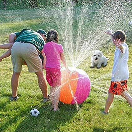 iYoYo 23.6 Inch Water Sprinkler Ball Inflatable Spray Ball Toy Beach Ball for Kids