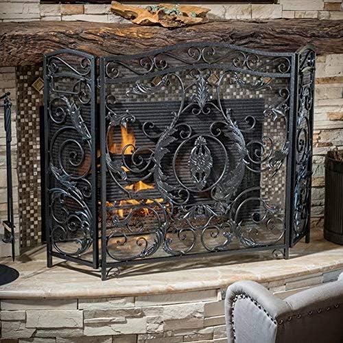 暖炉スクリーン 装飾的なスクロールデザインの3パネルメッシュ暖炉安全スクリーン、直火/ガス火災/丸太バーナー用の黒の大型防火スパークカバー