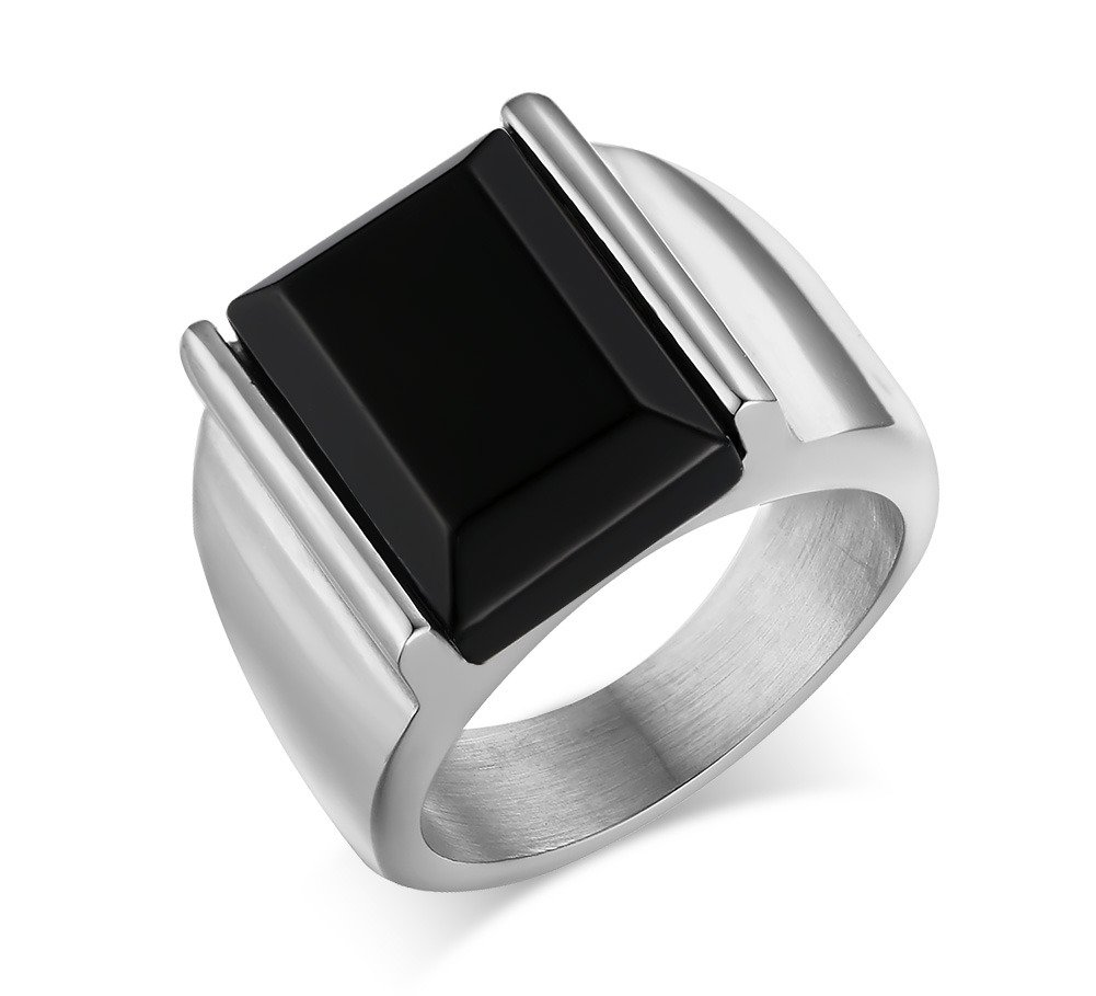 Fashion Stainless Steel Vintage Square Black Agate Signet Rings for Men, Gold and Silver Color Mealguet MG--RC--019