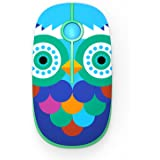 Jelly Comb 2.4G Slim Wireless Mouse with Nano Receiver, Less Noise, Portable Mobile Optical Mice for Notebook, PC, Laptop, Computer, MacBook MS001 (Light Blue with Owl Pattern)
