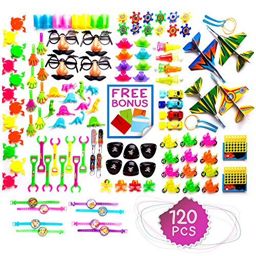 Imagine's Huge 120 Piece Party Favors Assortment: Colorful Toys, Pinata and Claw Machine Fillers, Carnival Prizes, Rewards, Gifts Plus Free - Big Top Glasses Bang