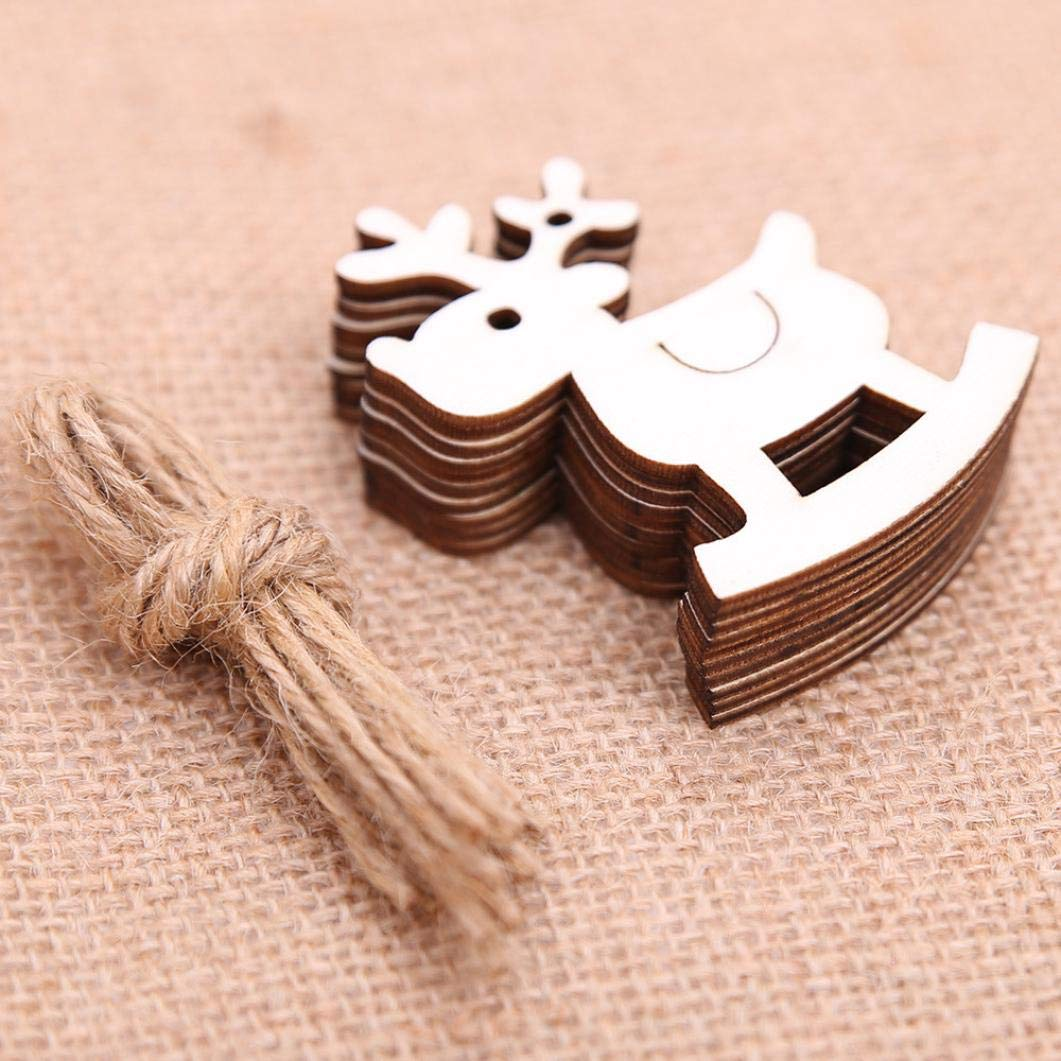D TAOtTAO 10 Pieces DIY Wooden Pendant Ornaments for Christmas Tree and Party Decorations