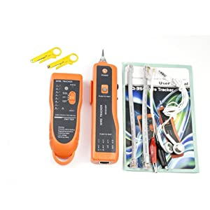 Network Toner RJ11 RJ45 Network Cable Tester Lan Tracker Wire Finder Cat5 Cat6 with 2 Network Wire Stripper Toolkit Orange