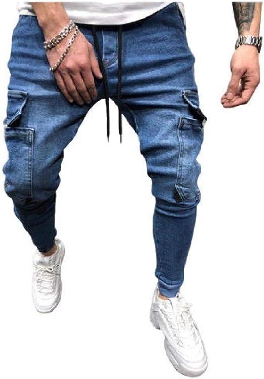 Nicellyer 男性ウォッシュミッドライズマルチポケットジッパーソリッド色付きヒップホップジャンパンツ