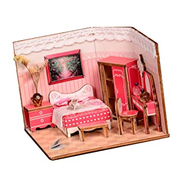 Buy Homyl 1 24 Diy Dollhouse Miniature Kits Wooden Dolls Houses With Full Furniture Pink Sweet Princess Bedroom Model Online At Low Prices In India Amazon