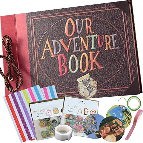 Our Adventure Book - Embossed Cover -Handmade DIY Pixar Up Movie- Family Scrapbook Photo Album - Includes Everything to Make The Perfect Memory - 80 Pages