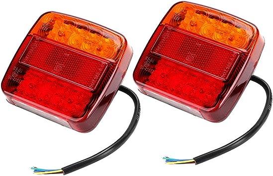 Qii lu 1 Pair LED Indicator Lights Rear Tail Brake Reverse Lamp for 12V Trailer Truck RV