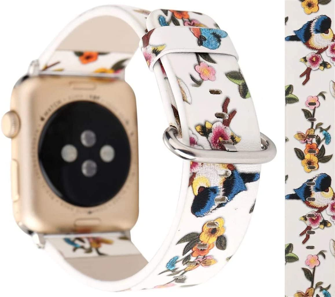 Compatible with Apple Watch Band 38mm 40mm, Floral Flower Bird Painting Soft Leather Watch Strap Replacement Wristband Bracelet for Apple Watch Series 5 4 (40mm) Series 3 2 1 (38mm)