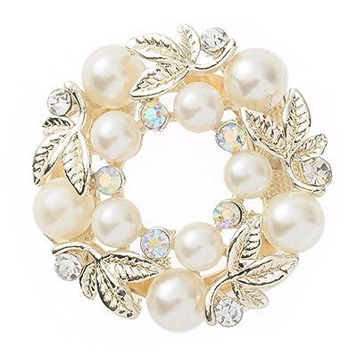 Élégante Fausse Perle Strass Bague de foulard Soie Écharpe Boucle Clip Bijoux tendance