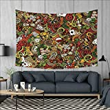 Anniutwo Casino Dorm Decor Doodles Style Artwork of Bingo and Cards Excitement Checkers King Tambourine Vegas Tapestry Table Cover Bedspread Beach Towel W71 x L60 (inch) Multicolor