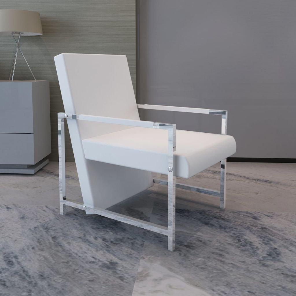 vidaXL Sillón Cubo Moderno Color Blanco con Patas Cromadas 53 x 69 x 73 cm