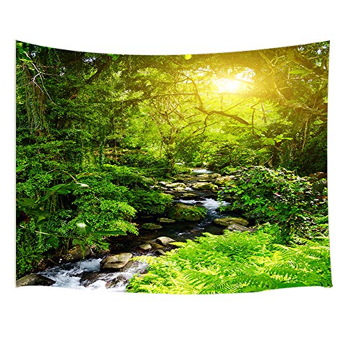 JAWO Tropical Decor Tapestry Wall Hanging, Morning Sunlight Sun Beams Through Trees Jungle Scene, Polyester Fabric Wall Tapestry for Home Living Room Bedroom Dorm Decor 80W X 60L Inches ()