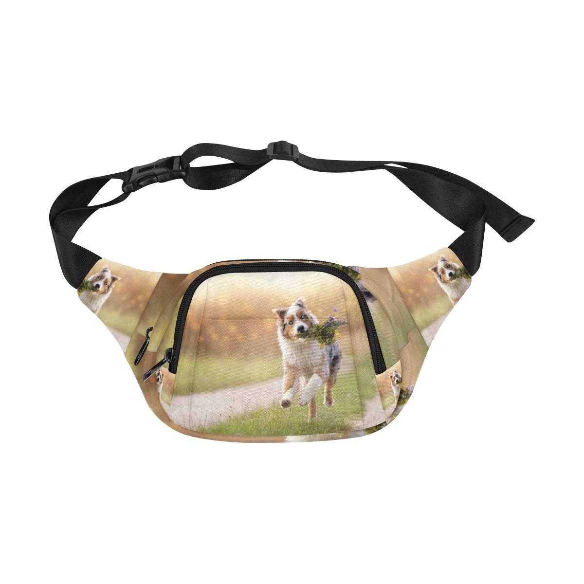 Valentine Dog With A Red Rose Fenny Packs Waist Bags Adjustable Belt Waterproof Nylon Travel Running Sport Vacation Party For Men Women Boys Girls Kids