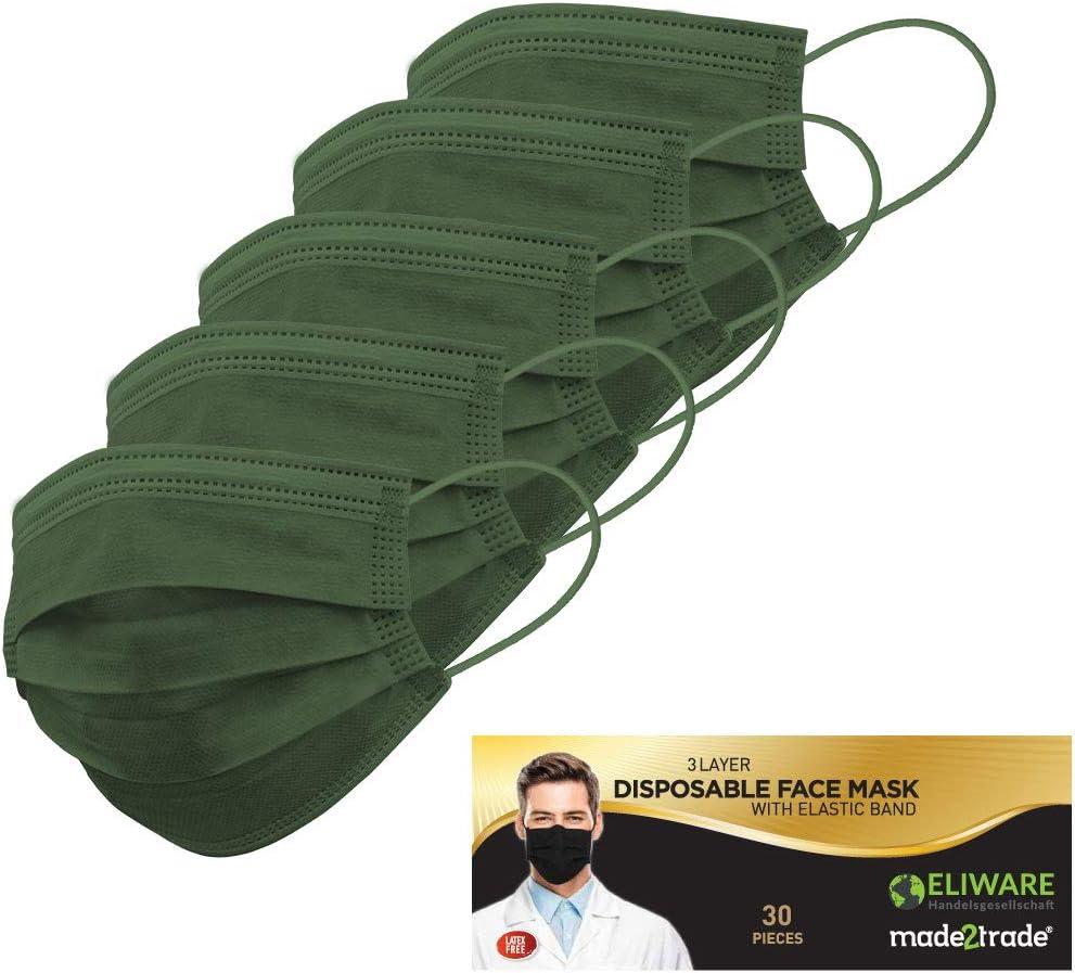 Lot de 30 masques jetables 3 couches avec arceau nasal Sans fibre de verre Kaki