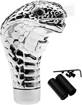 Universal Gear Shift Knob Snake Shape Shift Knob Shifter Gear Stick Shift Lever Head with Red LED Lights