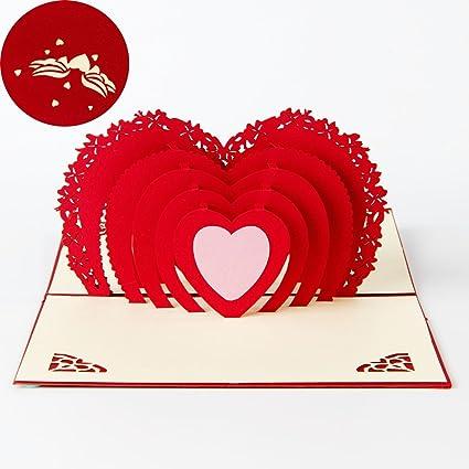 Carte Pour La Saint Valentin Deesos Cadeau De Carte Danniversaire Pour Vos Parents Amis Et Amoureux Carte De Voeux 3d Pop Up Meilleur Cadeau Pour