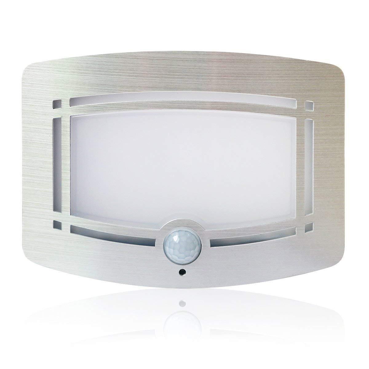 YWNC Wall Lamp LED Motion Sensor Body Induction Night Light Wireless Battery Powered Aluminum Case Closet Stair Hallway Bathroom Bedroom Kitchen Light,Warmwhite