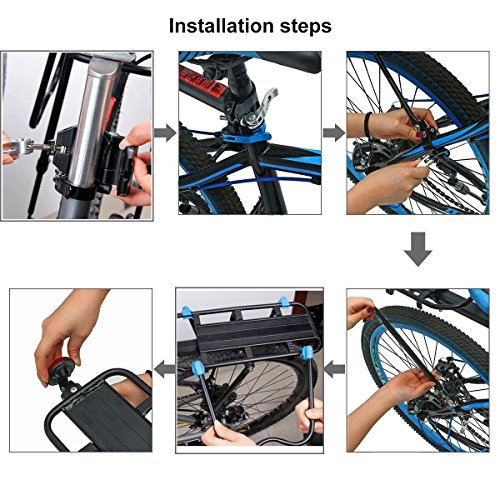 Bicycle Cargo Rack, Universal Adjustable Bike Carrier Rack Quick Release Luggage Cargo Rack Load 110 Lbs Bicycle Pannier Accessories with Reflector for 24''-29'' Frames by Calar (Image #6)