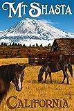 Mt. Shasta and Horses (9x12 Art Print, Wall Decor Travel Poster)