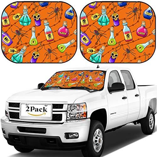 MSD Car Windshield Sun Shade, Universal Fit, 2-Piece for Car Window SunShades, Automotive Foldable Protector Cover, Image ID: 32140479 Vector Halloween Cute Hand Drawn Pattern with Different poisons -