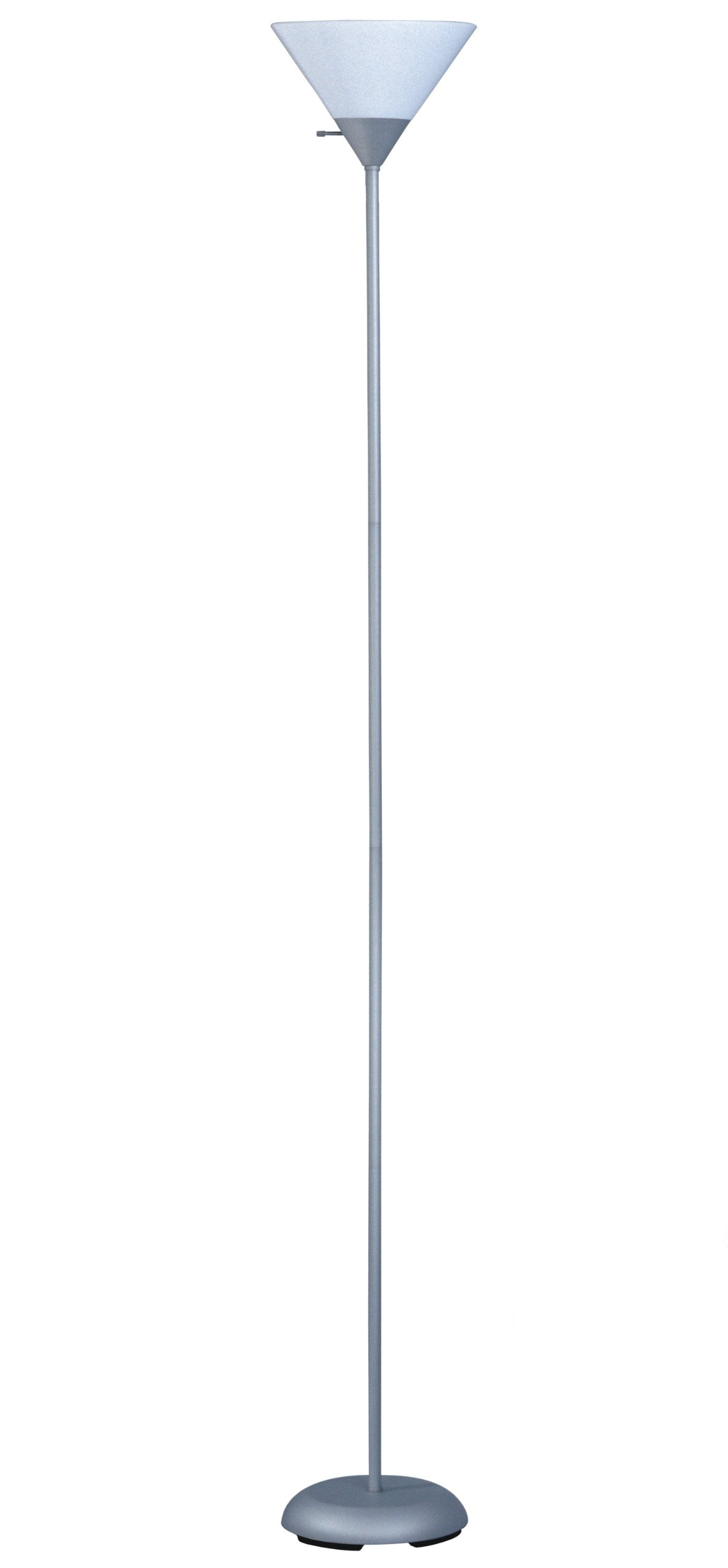 Park Madison Lighting PMF-3127-60 Torchiere Floor Lamp, Silver Finish with White Shade - MINIMALIST AND CHIC DESIGN: The neutral color and simplistic design of this lamp allows it to easily pair with essentially numerous interior design types. You won't have a problem complementing a preexisting theme - minimalist, traditional, industrial, mid-century, or contemporary décor, etc. The base of this lamp isn't wide, allowing it to accommodate tight corners and conveniently slide beneath sofas, TV  stands, chairs, recliners, etc. PORTABLE AND EASY TO ASSEMBLE: This lamp is easy to assemble, and can be set up without additional tools or parts by following the instructions included in the packaging. It isn't too heavy and can be moved from room to room after assembly if necessary. This lamp is compatible with a 150 Watt three way bulb allowing for a more personalized experience as you can rotate between different light settings. SAFE TO USE: This lamp is durable and features a weighted base making it less likely to tip over and fall. It is a perfect addition to any office, living room, hobby room, bedroom, dorm room, or play room, etc. and is an excellent source of functional lighting. The lamp's frosted shade prevents the lamp from overheating while it is being used. - living-room-decor, living-room, floor-lamps - 61g1yFhJmBL -