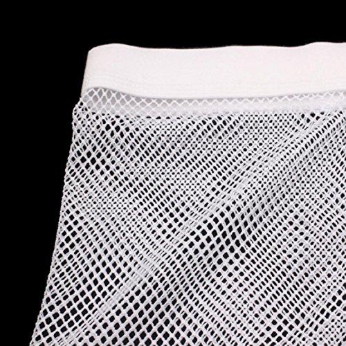 Slip Hommes Sous Transparent vêtements Nouveau À Travers Bianco Voir Maille Boxer Court Amison Pantalon xzSRxw