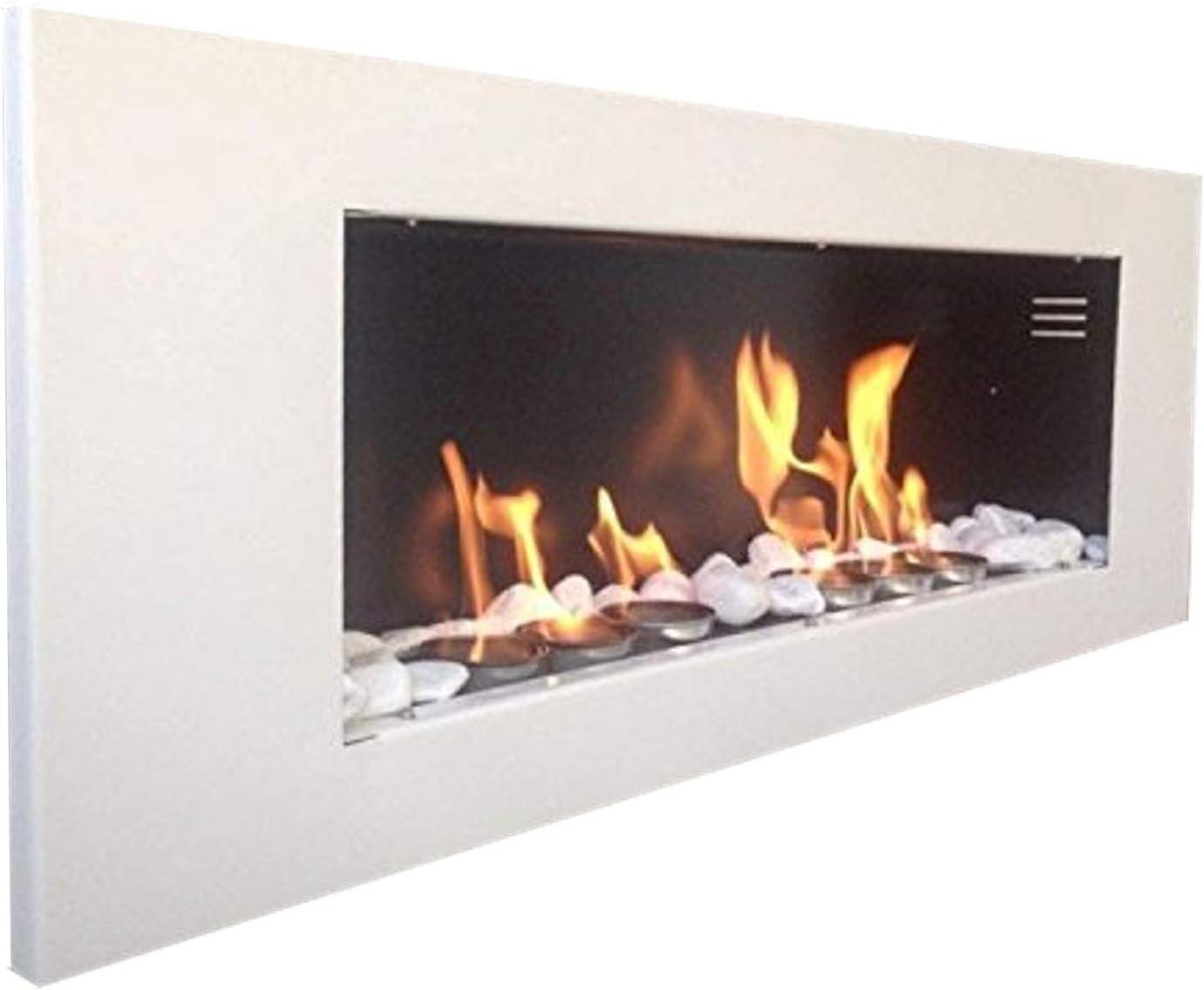 Biokamin Plus White Wall ethanol fireplace Bioethanol Fireplace XXL FREE 24/Decorative Stones