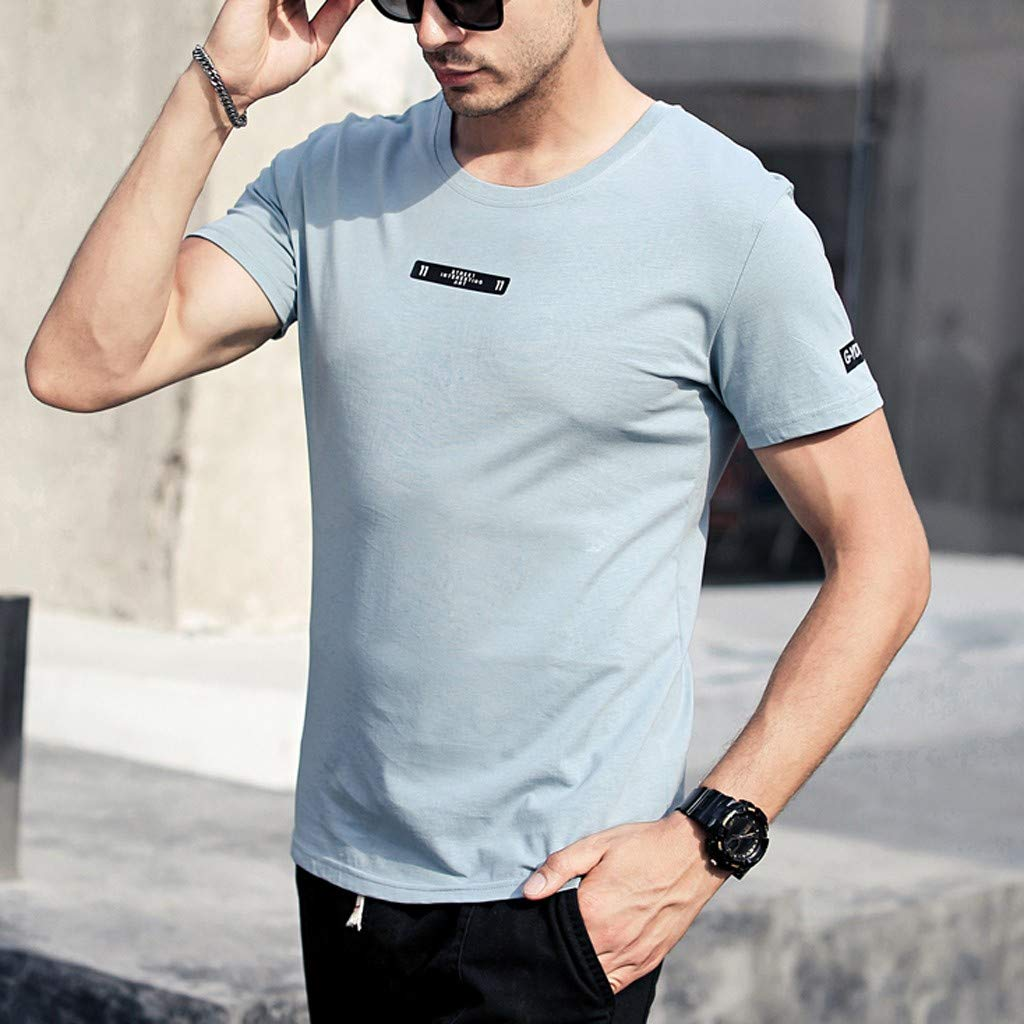 Mens T Shirts White 3XL Fashion Mens Letter Printing Shirt Short Sleeve Casual T-Shirt Blouse Tops