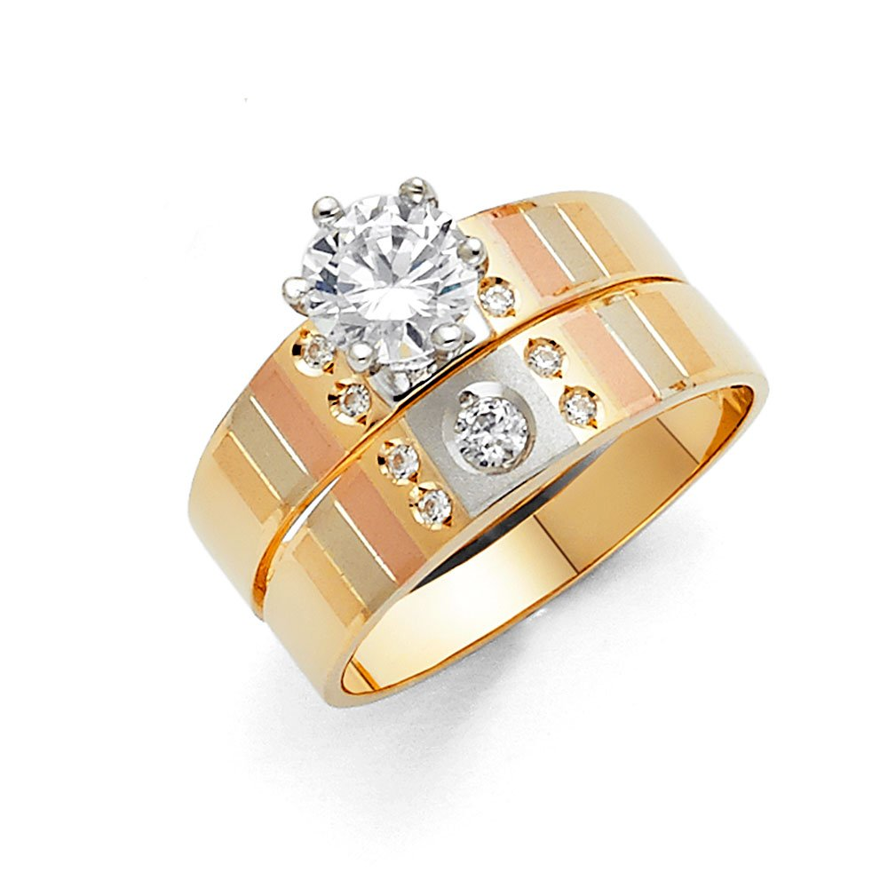 14k Tri Color Gold Engagement Ring and Wedding Band 2 Piece Set - Size 5