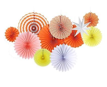 Amazon Roossys 11pcsset Orange Paper Fan Flowers Decorations