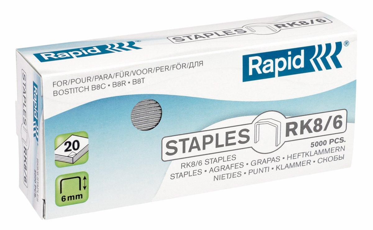 Rapid Agrafes Standard RK8, Longueur 6 mm, 5000 Agrafes, Agrafe jusqu'à 20 feuilles, Fil galvanisé, 24873700 Agrafe jusqu'à 20 feuilles Fil galvanisé