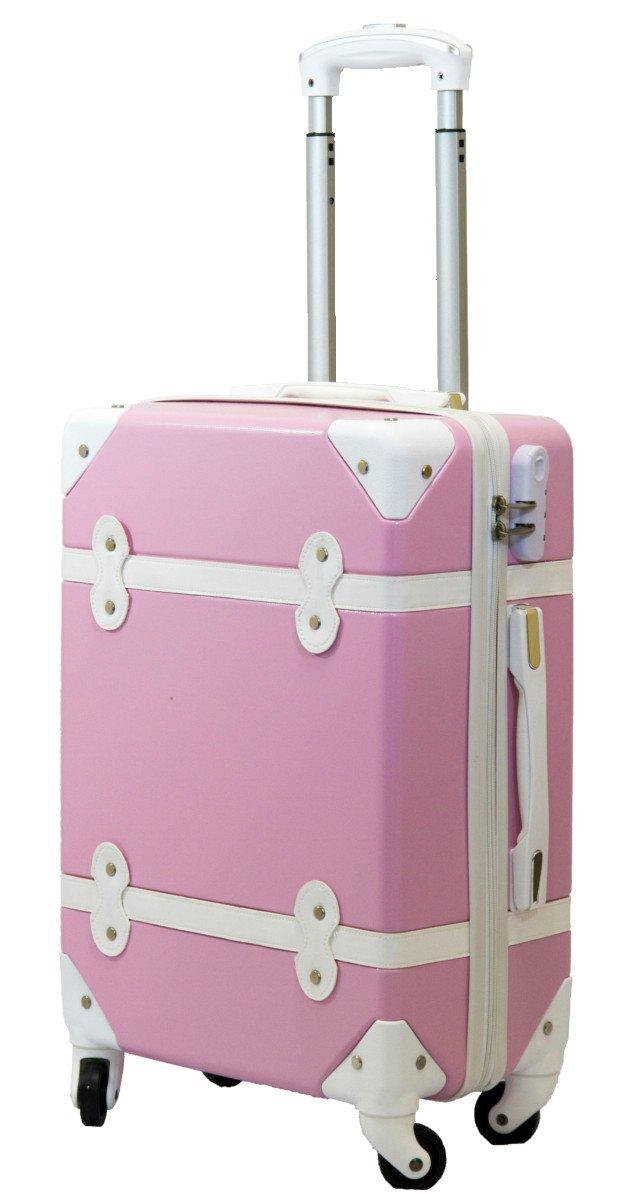 Sサイズ 約 30L 1~3泊用 機内 持ち込み かわいい トランク 風 デザイン 超軽量 ABS スーツケース キャリーケース パステルカラー 3色 ARC's KY002 B0773C2RLG ピンク ピンク