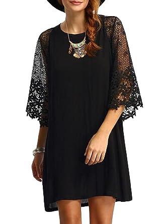 160e6f3996293 Romacci Women Loose Dress Sheer Lace Cut Out 3 4 Sleeve Casual Short Dress  Solid Mini Dress Plus Size Vestidos Black  Amazon.co.uk  Clothing