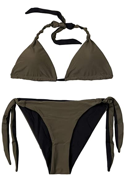 38eaf8e636b89 Amazon.com: Sociala Olive Green Bikini Set for Women Halter Bikini Swimsuit  Two Piece Bikini S: Clothing