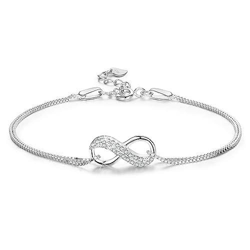 34357108e74f LDUDU Pulsera Mujer Símbolo Amor Infinito Pulsera Plata 925 Regalo para  Navidad Día de San Valentín Cumpleaños