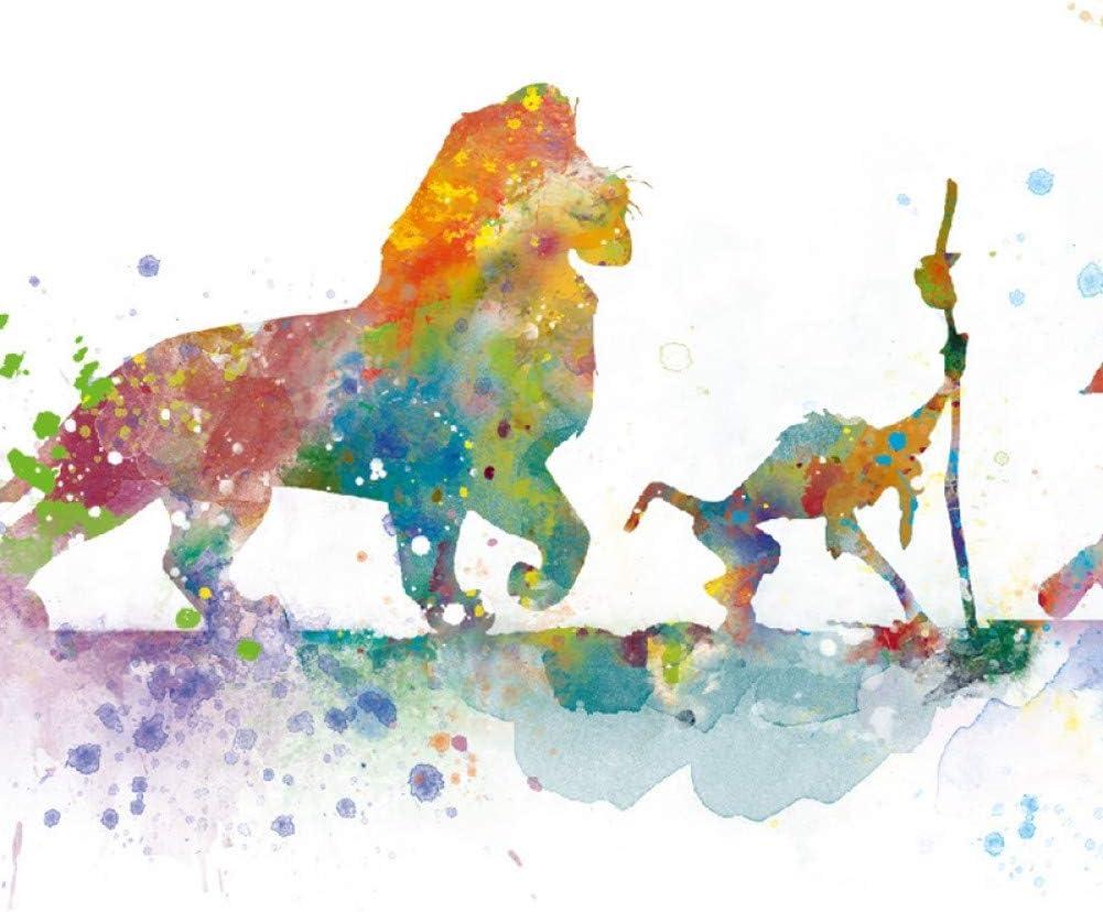QAZEDC Leinwand Gem/älde K/önig der L/öwen Poster Leinwand drucken Aquarell Klassische Simba Kunst Malerei Geschenk Kinderzimmer Wandkunst Bild Kinder Zimmer Home Decor 60x80cm