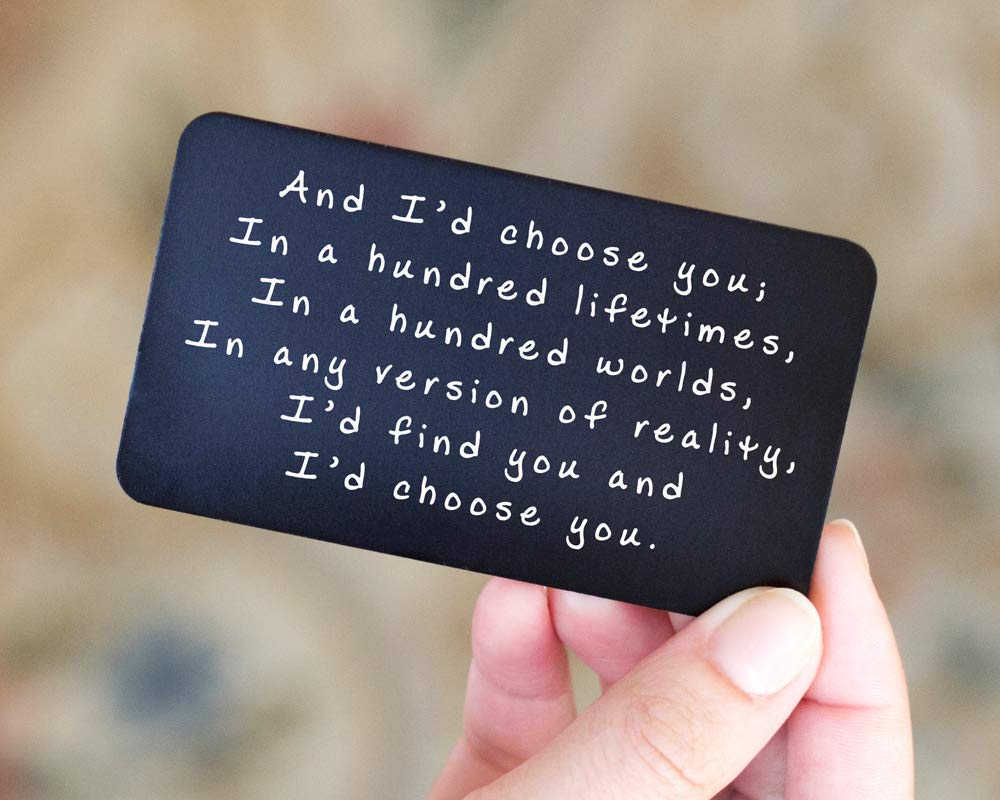 Anniversary Gifts for Men - Engraved Wallet Inserts - Perfect Birthday Gifts for Men - Metal Wallet Card Love Note, Anniversary Gifts for Men, Boyfriend, Husband Gifts from Wife 2020