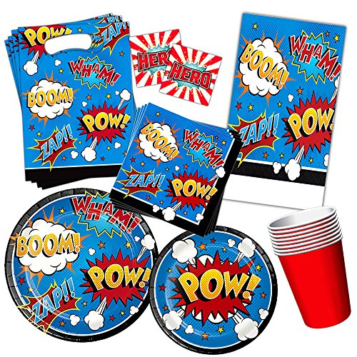 Superhero Party Supplies Set Kids Toddlers -- Super Hero Birthday Party Decorations, Party Favors, Plates, Cups, Napkins and More! -